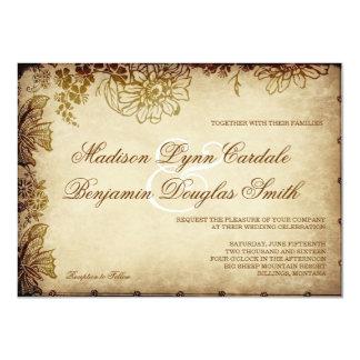 Elegante Vintage rustikale Hochzeits-mit 11,4 X 15,9 Cm Einladungskarte