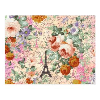 Elegante Vintage Turm-niedliche Rosen Paris Eiffel Postkarte