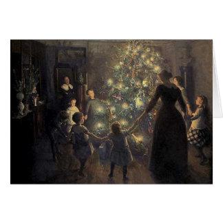 Elegante Vintage Weihnachtsbaum-Karte Grußkarte