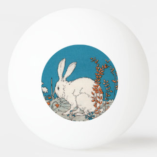Elegante Vintage weiße Kaninchen-Blumen Tischtennis Ball