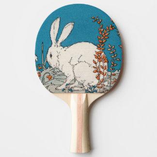 Elegante Vintage weiße Kaninchen-Blumen Tischtennis Schläger
