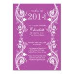 Elegante violette weiße Abschluss-Party Einladung