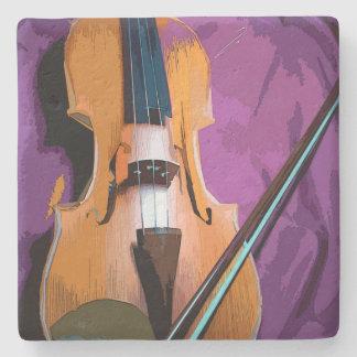 Elegante Violine auf lila Seide, SteinUntersetzer