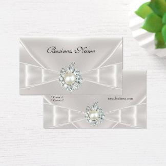 Elegante Visitenkarte-weißes Silk Bogen-Juwel Visitenkarte