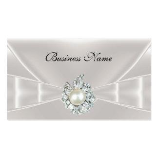 Elegante Visitenkarte-weißes Silk Bogen-Juwel Visitenkarten