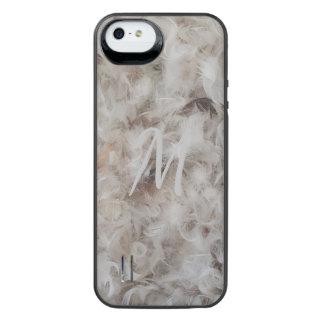 Elegante Vogel-Feder-Fotografie des Monogramm-M iPhone SE/5/5s Batterie Hülle