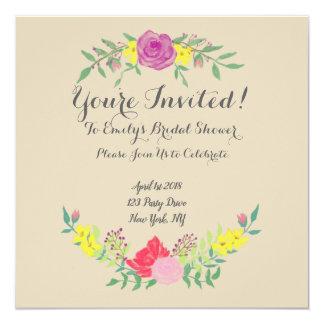 Elegante Watercolor-Blumen-Brautparty-Einladung Karte