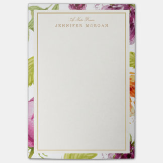 Elegante Watercolor-Garten-Blumen-stilvoller Post-it Klebezettel