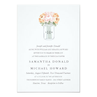 Elegante Weckglas-Hochzeits-Einladungen Karte