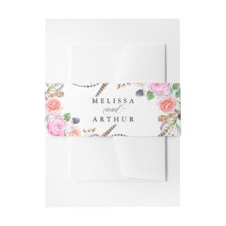 Elegante Wedding Boho botanische BlumenRosen Einladungsbanderole