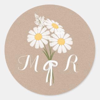 Elegante weiße Gänseblümchen-Monogramm-mit Runder Aufkleber