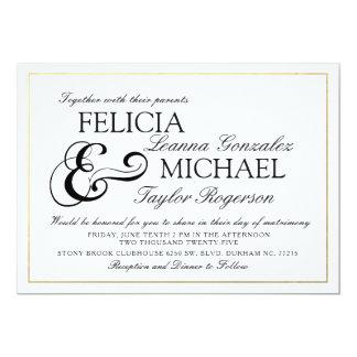 Elegante weiße klassische Art-Hochzeit des 12,7 X 17,8 Cm Einladungskarte