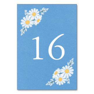 Elegante weiße mit Blumengänseblümchen auf blauer Karte