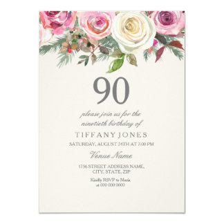 Elegante weiße Rosen-Blumen90. Geburtstag laden Karte