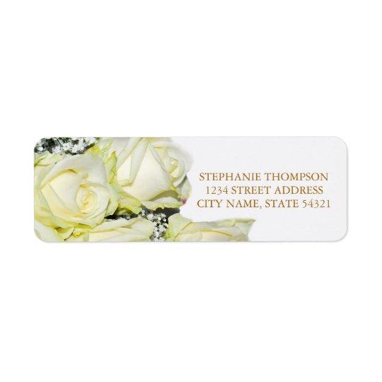Elegante weiße Rosen, die Adressen-Etikett Wedding Rückversand-Adressaufkleber