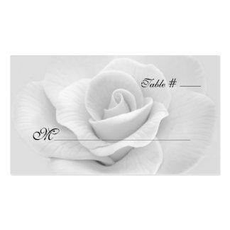 Elegante weiße Rosen-Hochzeits-Eskorte-Karte Visitenkarte