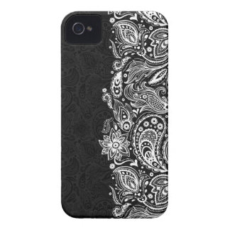 Elegante weiße u. schwarze Blumenpaisley-Spitze Case-Mate iPhone 4 Hülle