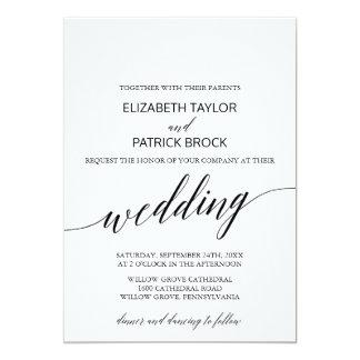 Elegante weiße und schwarze Kalligraphie-Hochzeit Karte