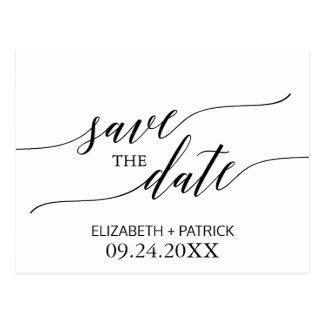 Elegante weiße und schwarze Kalligraphie Save the Postkarte