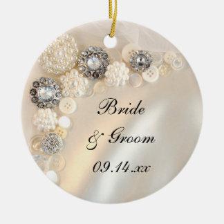 Elegante weiße Wedding Perlen-und Diamant-Knöpfe Keramik Ornament