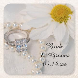 Elegante weißes Gänseblümchen-Hochzeit Rechteckiger Pappuntersetzer