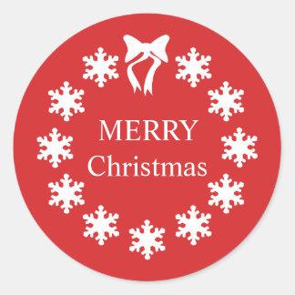 Elegante weißes Weihnachtsrot-Schneeflocken Runder Aufkleber