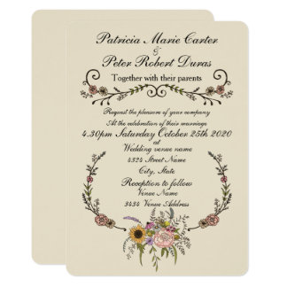 "Elegante Wildblume, die Invitation.5"" x 7"" Karte"