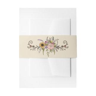Elegante Wildblume-Hochzeits-Bauch-Bänder Einladungsbanderole