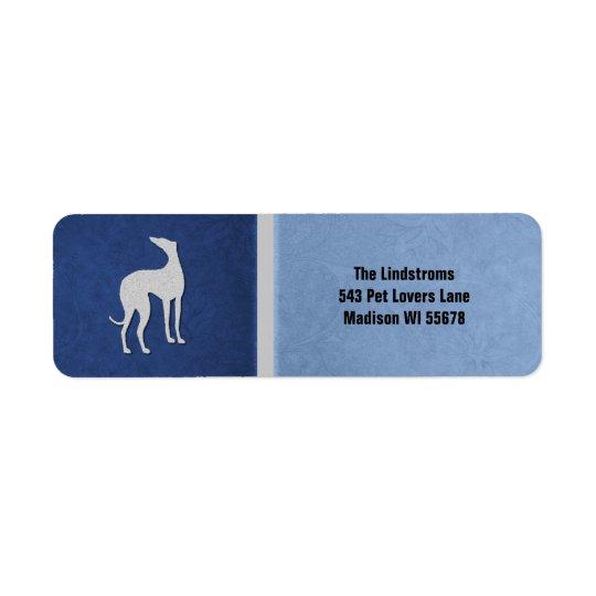 Elegante Windhund-Silhouette in der blauen