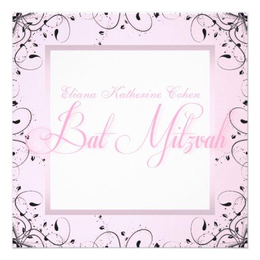 Elegante Wirbels-Rosa-Schwarz-Schläger Mitzvah Einladung