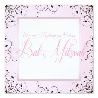 Elegante Wirbels-Rosa-Schwarz-Schläger Mitzvah Quadratische 13,3 Cm Einladungskarte