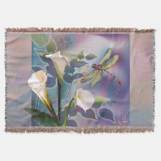 Elegante Wurfsdecke mit Libelle und Lilie Decke