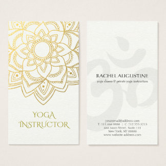 Elegante YOGA Lehrer-weißes GoldblumenMandala Visitenkarte