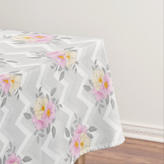 Elegante Zickzack Blumenhochzeitsmustertischdecke Tischdecke