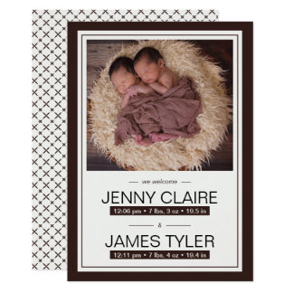 Elegante Zwillings-Baby-Geburts-Mitteilung Karte