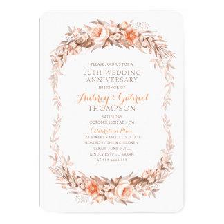 Eleganter 20. Hochzeitstag-Blumenfall Karte