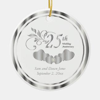 Eleganter 25. silberner Hochzeitstag Keramik Ornament