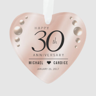 Eleganter 30. Perlen-Hochzeitstag Ornament