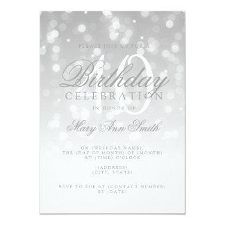 Eleganter 40. Geburtstag silberne Bokeh Karte