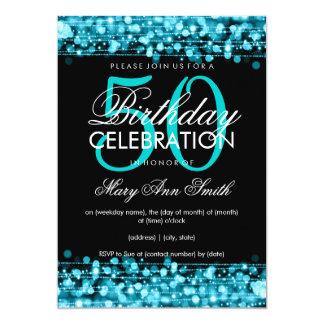 Eleganter 50. Geburtstags-Party-Glitzern-Türkis Personalisierte Einladung