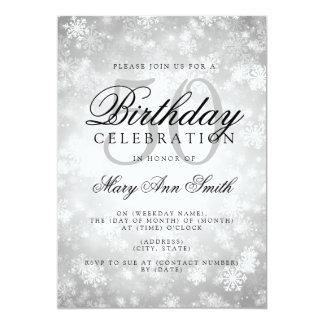 Eleganter 50. Geburtstags-silbernes 12,7 X 17,8 Cm Einladungskarte