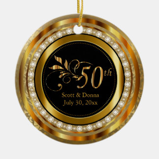 Eleganter 50. goldener Diamant-Jahrestag Keramik Ornament