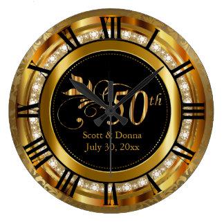 Eleganter 50. goldener Hochzeitstag Große Wanduhr