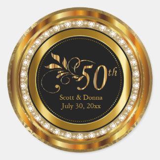 Eleganter 50. goldener Hochzeitstag Runder Aufkleber