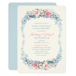 Eleganter 50. Hochzeitstag-Blumenfrühling Karte
