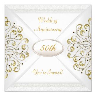 Eleganter 50. Hochzeitstag-weißes Gold Karte