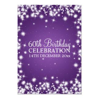 Eleganter 60. Geburtstags-Party-Winter-Schein lila 12,7 X 17,8 Cm Einladungskarte