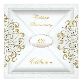 Eleganter 60. Hochzeitstag-weißes Gold Karte
