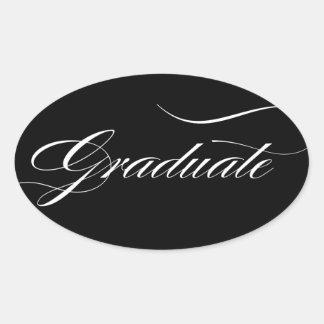 Eleganter Absolvent   wählen Hintergrund-Farbe Ovaler Aufkleber