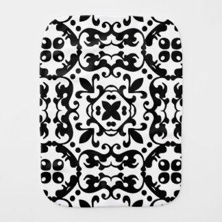 Eleganter antiker Damast-Schwarzweiss-Muster Spucktuch